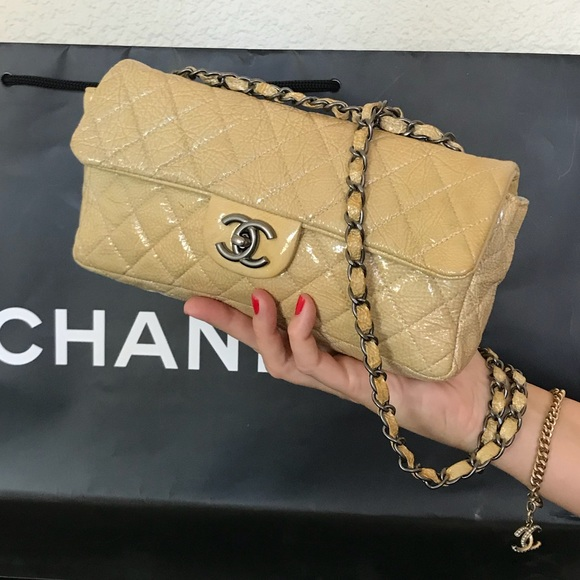 8f23d4f5b0d93e CHANEL Handbags - CHANEL Quilted Patent Leather Flap Bag Small